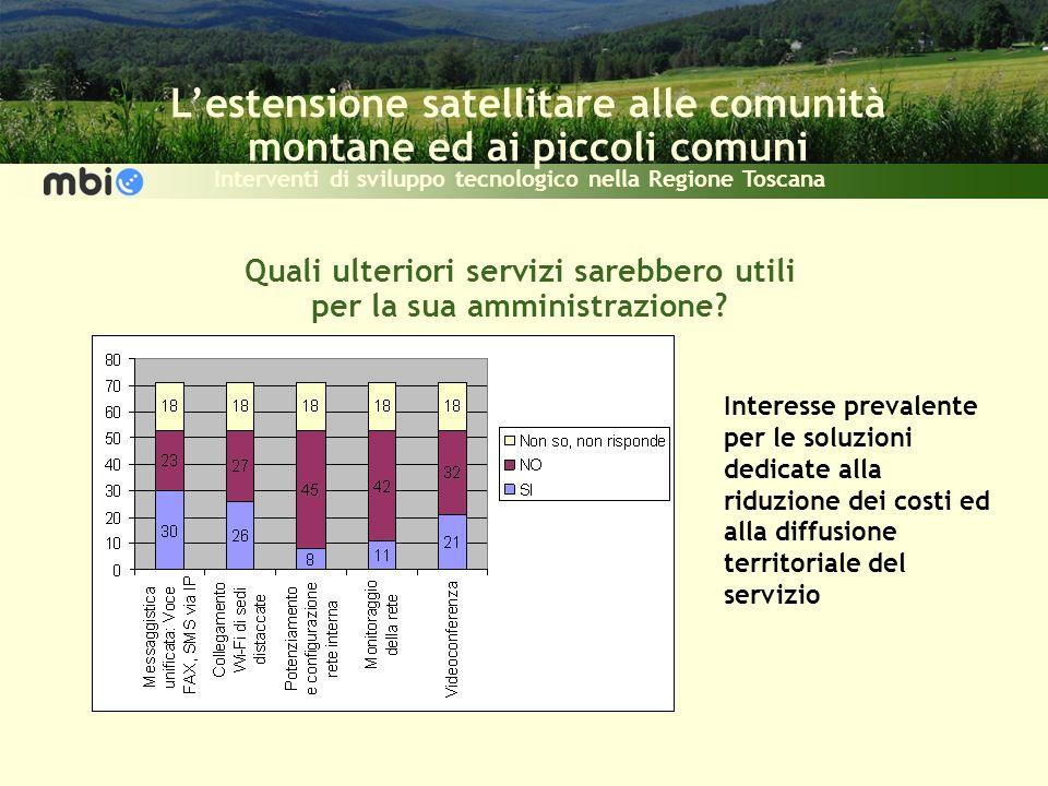 Lestensione satellitare alle comunità montane ed ai piccoli comuni Interventi di sviluppo tecnologico nella Regione Toscana Quali ulteriori servizi sarebbero utili per la sua amministrazione.