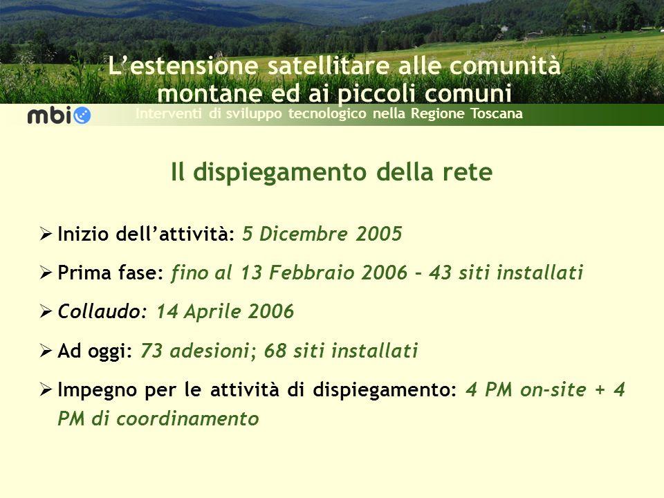 Lestensione satellitare alle comunità montane ed ai piccoli comuni Interventi di sviluppo tecnologico nella Regione Toscana Il dispiegamento della ret