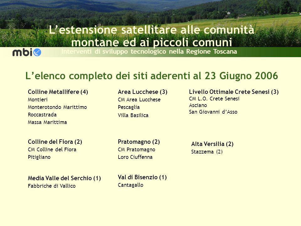 Lestensione satellitare alle comunità montane ed ai piccoli comuni Interventi di sviluppo tecnologico nella Regione Toscana Colline Metallifere (4) Mo