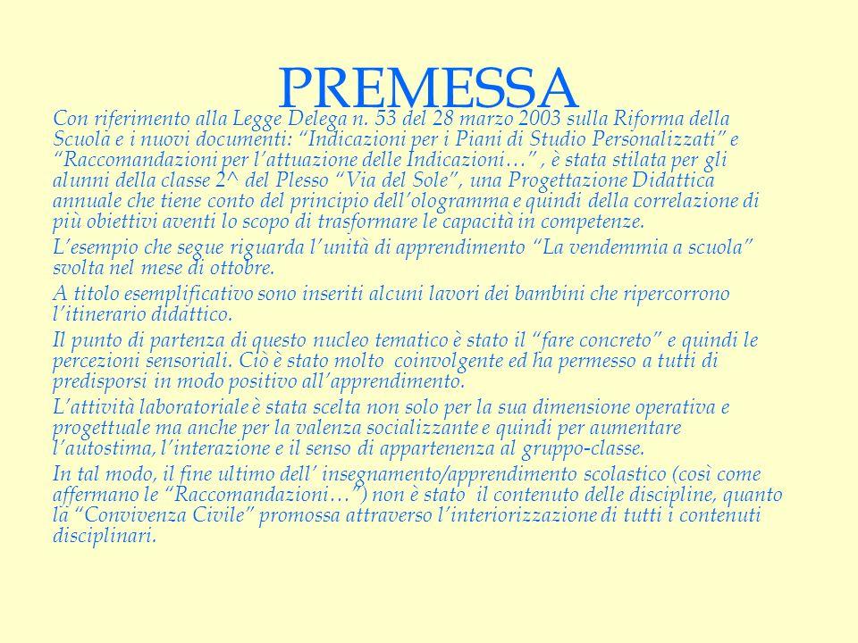 PREMESSA Con riferimento alla Legge Delega n. 53 del 28 marzo 2003 sulla Riforma della Scuola e i nuovi documenti: Indicazioni per i Piani di Studio P