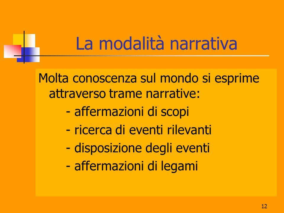 12 La modalità narrativa Molta conoscenza sul mondo si esprime attraverso trame narrative: - affermazioni di scopi - ricerca di eventi rilevanti - disposizione degli eventi - affermazioni di legami