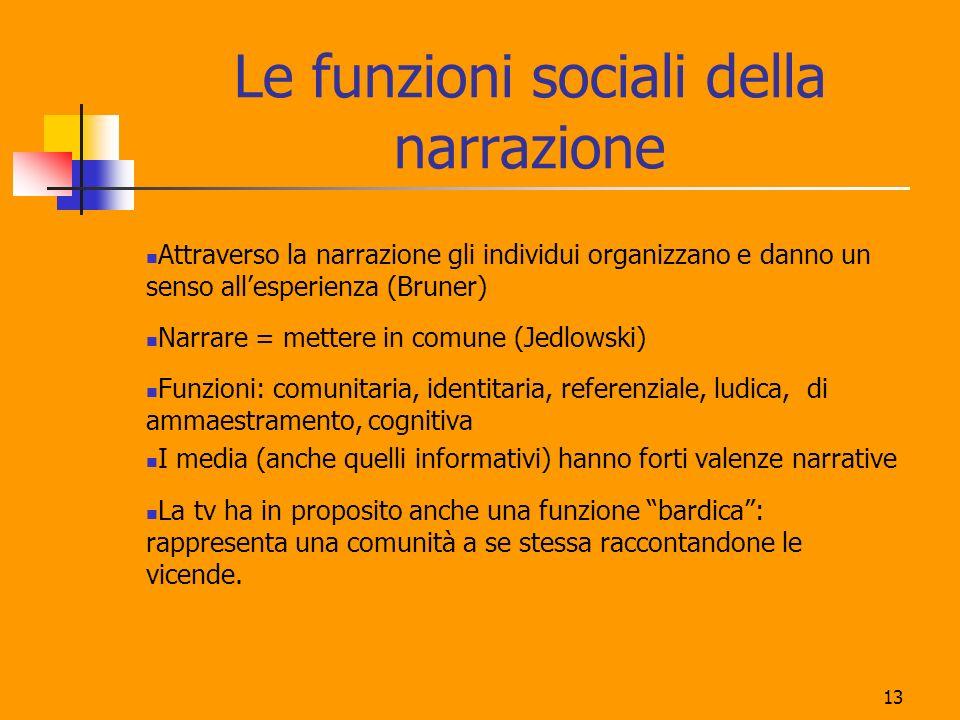 13 Le funzioni sociali della narrazione Attraverso la narrazione gli individui organizzano e danno un senso allesperienza (Bruner) Narrare = mettere i