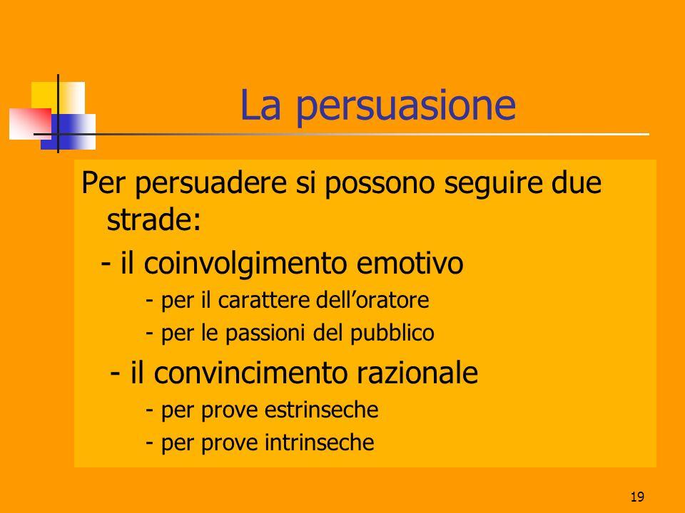 19 La persuasione Per persuadere si possono seguire due strade: - il coinvolgimento emotivo - per il carattere delloratore - per le passioni del pubblico - il convincimento razionale - per prove estrinseche - per prove intrinseche