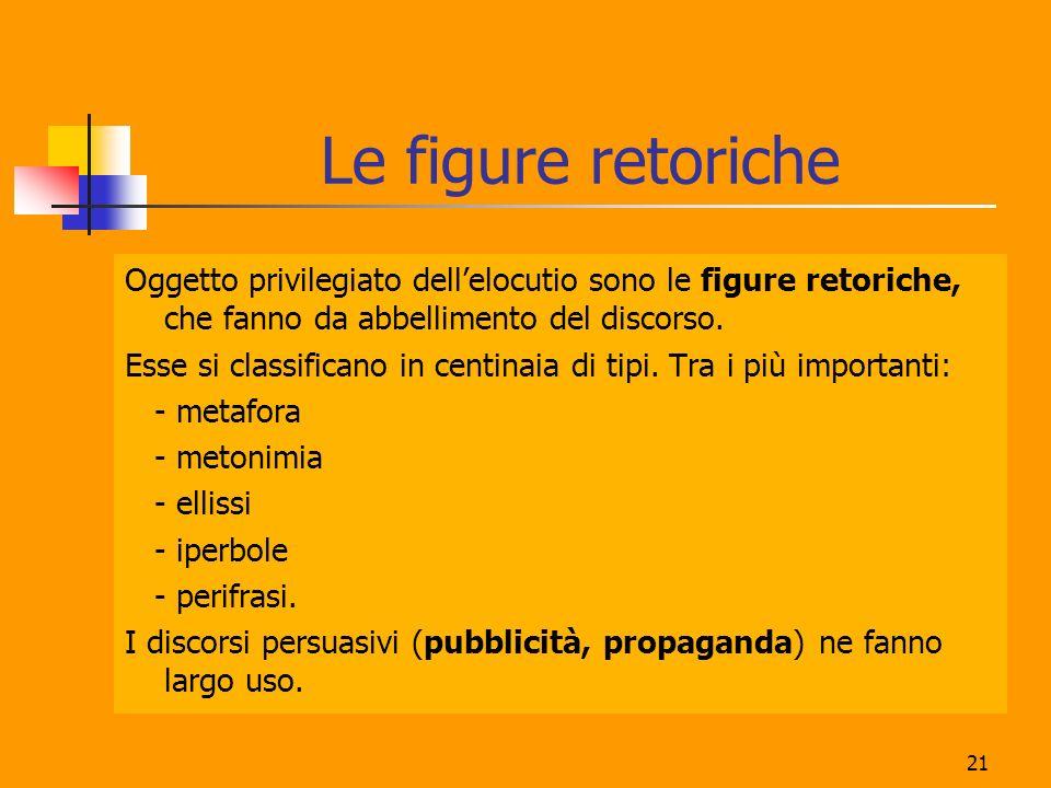 21 Oggetto privilegiato dellelocutio sono le figure retoriche, che fanno da abbellimento del discorso.
