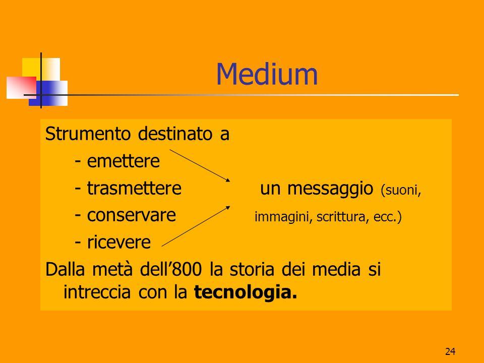 24 Medium Strumento destinato a - emettere - trasmettere un messaggio (suoni, - conservare immagini, scrittura, ecc.) - ricevere Dalla metà dell800 la storia dei media si intreccia con la tecnologia.