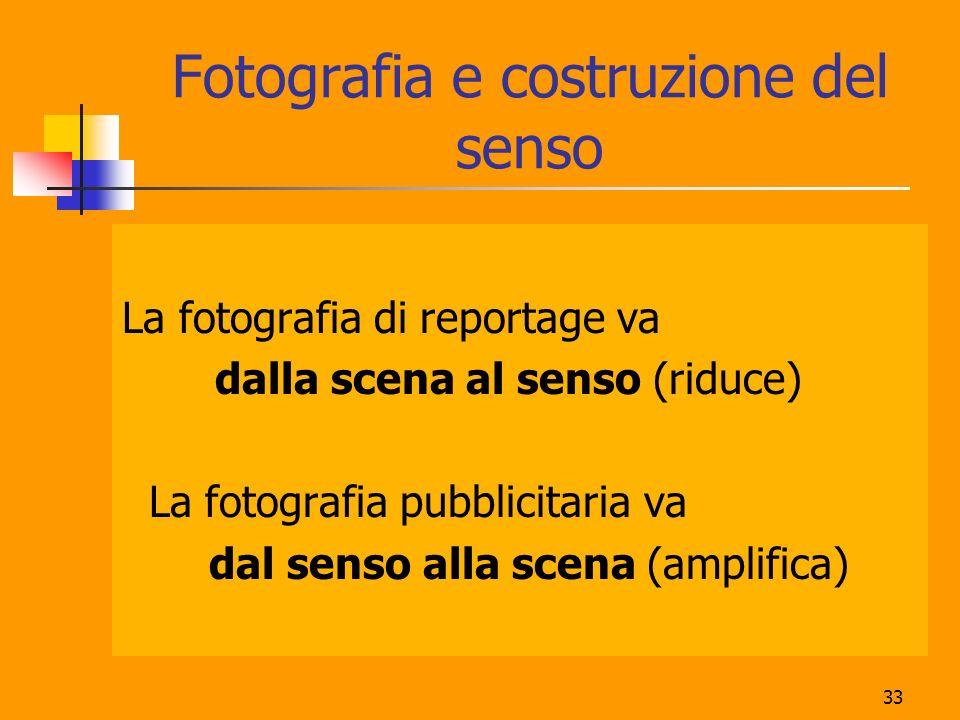 33 Fotografia e costruzione del senso La fotografia di reportage va dalla scena al senso (riduce) La fotografia pubblicitaria va dal senso alla scena