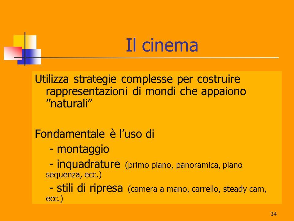 34 Il cinema Utilizza strategie complesse per costruire rappresentazioni di mondi che appaiono naturali Fondamentale è luso di - montaggio - inquadrat