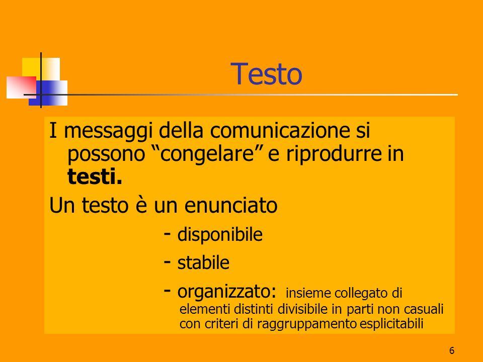 6 Testo I messaggi della comunicazione si possono congelare e riprodurre in testi. Un testo è un enunciato - disponibile - stabile - organizzato: insi
