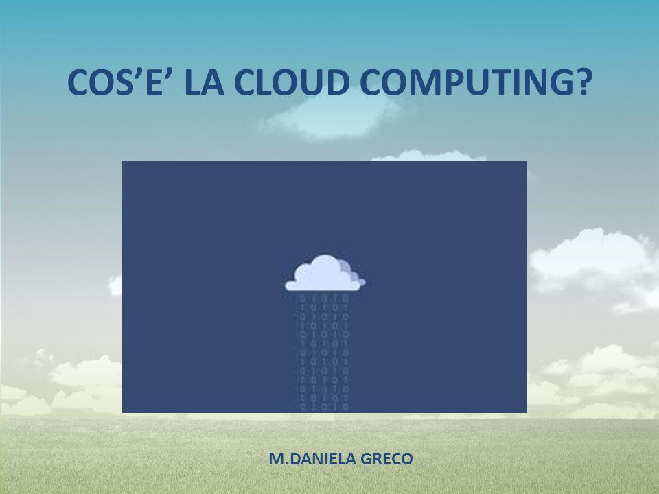 Con il termine inglese cloud computing (in italiano nuvola informatica) si indica un insieme di tecnologie che permettono di memorizzare archiviare elaborare dati grazie all utilizzo di risorse hardware/software distribuite e virtualizzate in Rete.