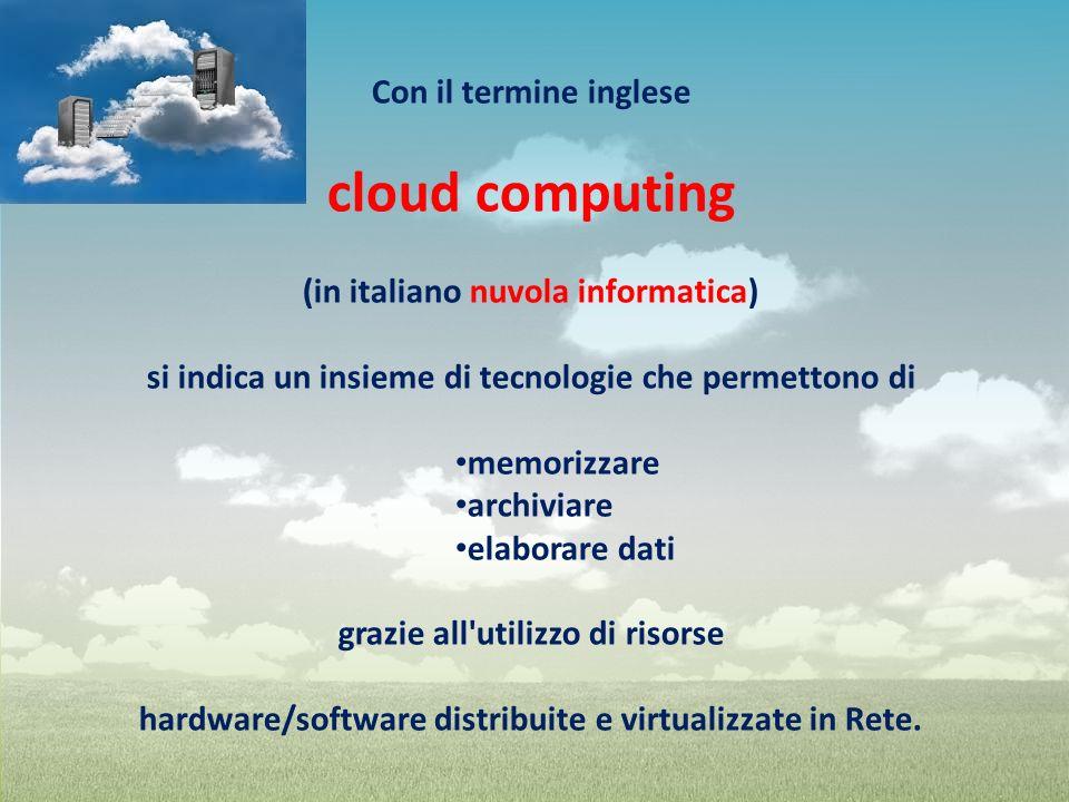 Con il termine inglese cloud computing (in italiano nuvola informatica) si indica un insieme di tecnologie che permettono di memorizzare archiviare el