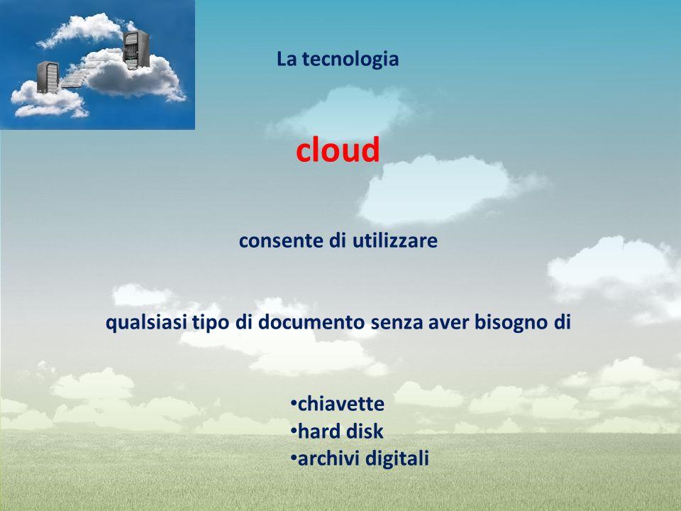 La tecnologia cloud consente di utilizzare qualsiasi tipo di documento senza aver bisogno di chiavette hard disk archivi digitali