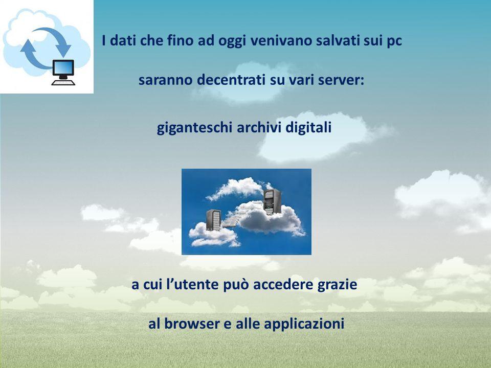 giganteschi archivi digitali a cui lutente può accedere grazie al browser e alle applicazioni I dati che fino ad oggi venivano salvati sui pc saranno