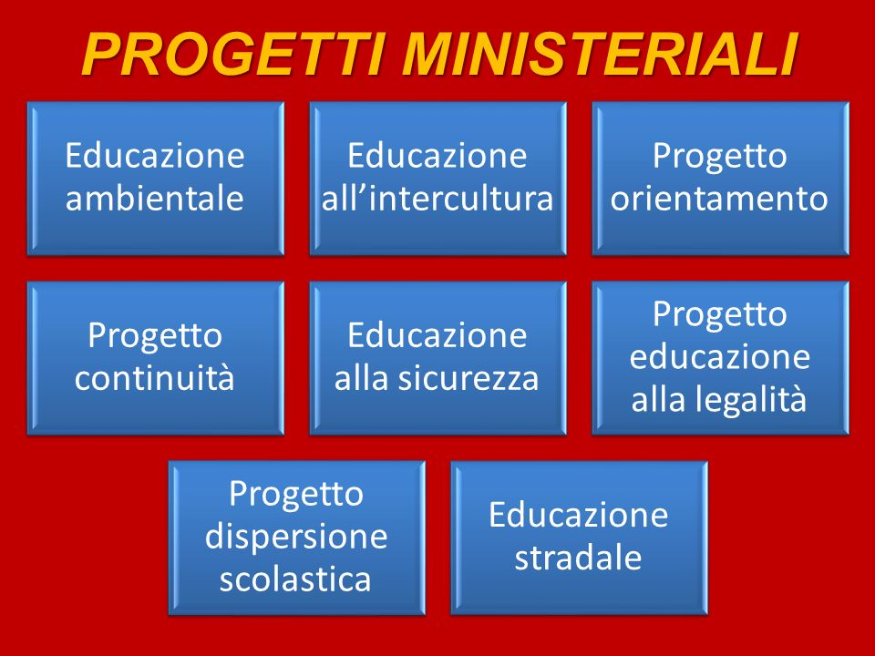 PROGETTI MINISTERIALI Educazione ambientale Educazione allintercultura Progetto orientamento Progetto continuità Educazione alla sicurezza Progetto educazione alla legalità Progetto dispersione scolastica Educazione stradale