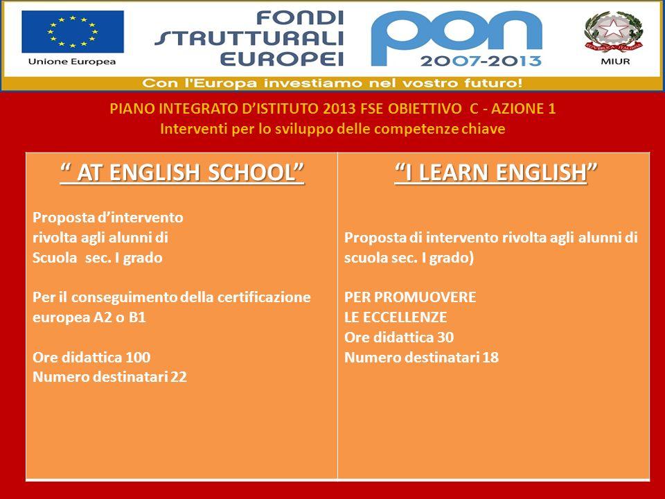 AT ENGLISH SCHOOL AT ENGLISH SCHOOL Proposta dintervento rivolta agli alunni di Scuola sec. I grado Per il conseguimento della certificazione europea