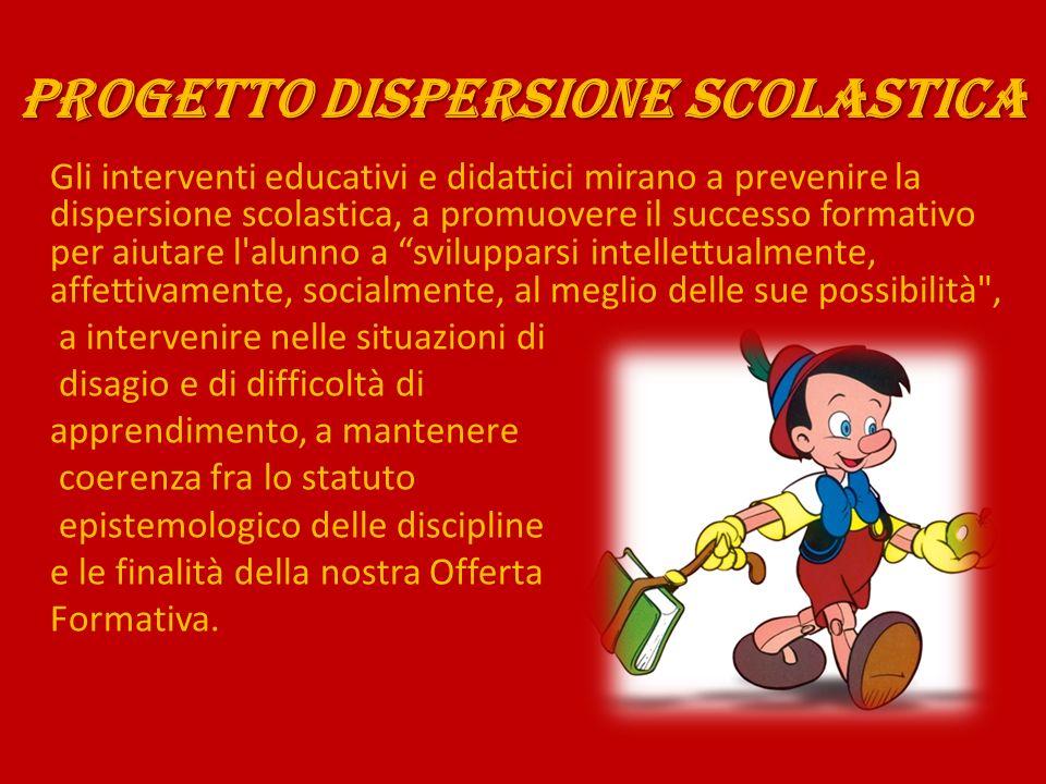 PROGETTO DISPERSIONE SCOLASTICA Gli interventi educativi e didattici mirano a prevenire la dispersione scolastica, a promuovere il successo formativo