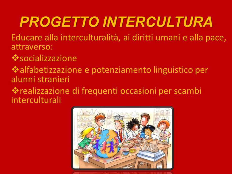PROGETTO INTERCULTURA Educare alla interculturalità, ai diritti umani e alla pace, attraverso: socializzazione alfabetizzazione e potenziamento linguistico per alunni stranieri realizzazione di frequenti occasioni per scambi interculturali