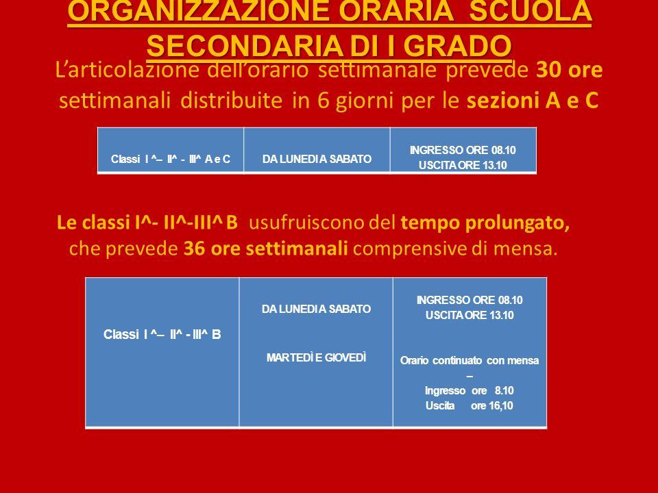 ORGANIZZAZIONE ORARIA SCUOLA SECONDARIA DI I GRADO Larticolazione dellorario settimanale prevede 30 ore settimanali distribuite in 6 giorni per le sezioni A e C Classi I ^– II^ - III^ A e CDA LUNEDI A SABATO INGRESSO ORE 08.10 USCITA ORE 13.10 Le classi I^- II^-III^ B usufruiscono del tempo prolungato, che prevede 36 ore settimanali comprensive di mensa.