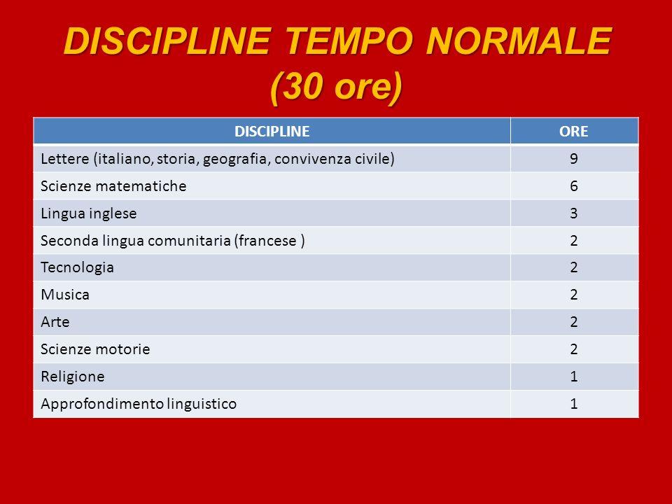 DISCIPLINE TEMPO NORMALE (30 ore) DISCIPLINEORE Lettere (italiano, storia, geografia, convivenza civile)9 Scienze matematiche6 Lingua inglese3 Seconda