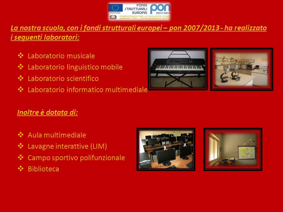 La nostra scuola, con i fondi strutturali europei – pon 2007/2013 - ha realizzato i seguenti laboratori: Laboratorio musicale Laboratorio linguistico mobile Laboratorio scientifico Laboratorio informatico multimediale Inoltre è dotata di: Aula multimediale Lavagne interattive (LIM) Campo sportivo polifunzionale Biblioteca