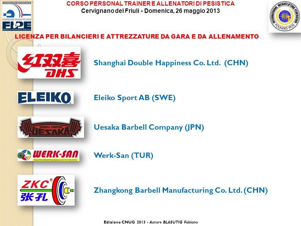 LICENZA PER BILANCIERI E ATTREZZATURE DA GARA E DA ALLENAMENTO Zhangkong Barbell Manufacturing Co. Ltd. (CHN) Shanghai Double Happiness Co. Ltd. (CHN)