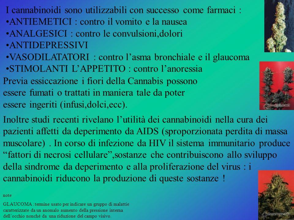 I cannabinoidi sono utilizzabili con successo come farmaci : ANTIEMETICI : contro il vomito e la nausea ANALGESICI : contro le convulsioni,dolori ANTI