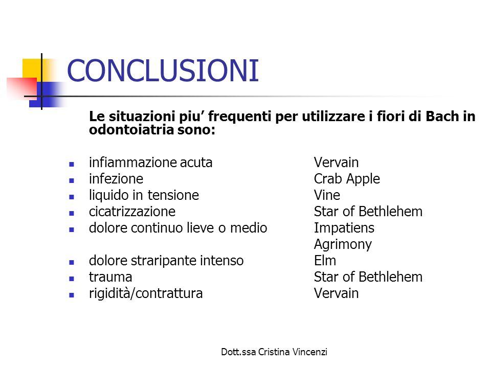 Dott.ssa Cristina Vincenzi CONCLUSIONI Le situazioni piu frequenti per utilizzare i fiori di Bach in odontoiatria sono: infiammazione acutaVervain inf