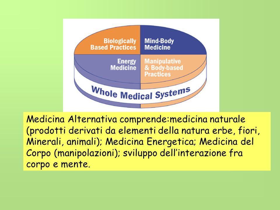 Medicina Alternativa comprende:medicina naturale (prodotti derivati da elementi della natura erbe, fiori, Minerali, animali); Medicina Energetica; Med