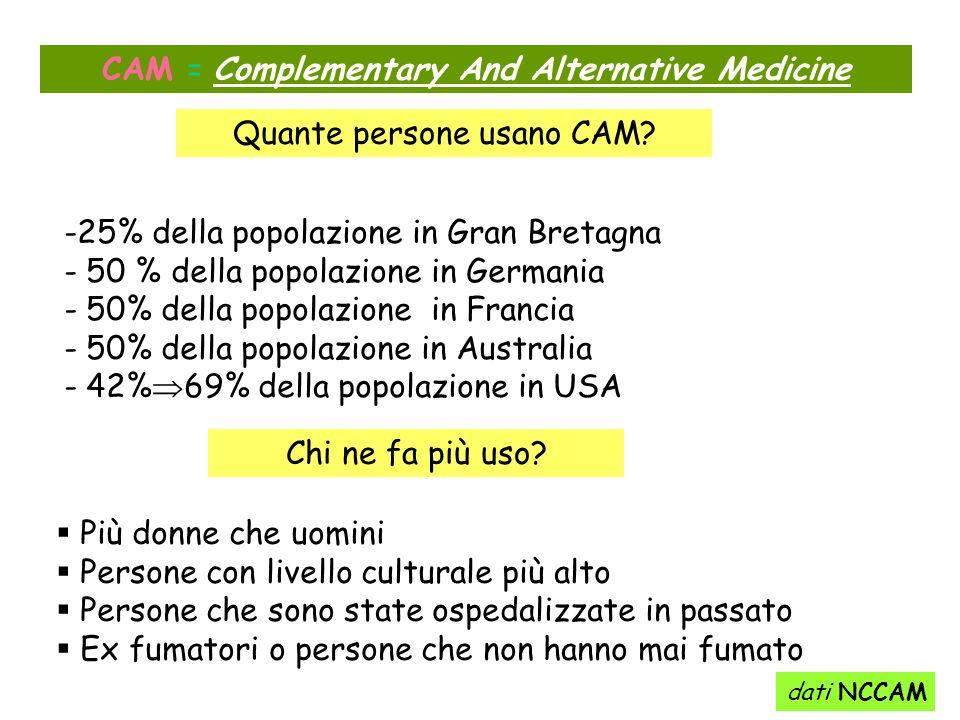 CAM = Complementary And Alternative Medicine -25% della popolazione in Gran Bretagna - 50 % della popolazione in Germania - 50% della popolazione in F
