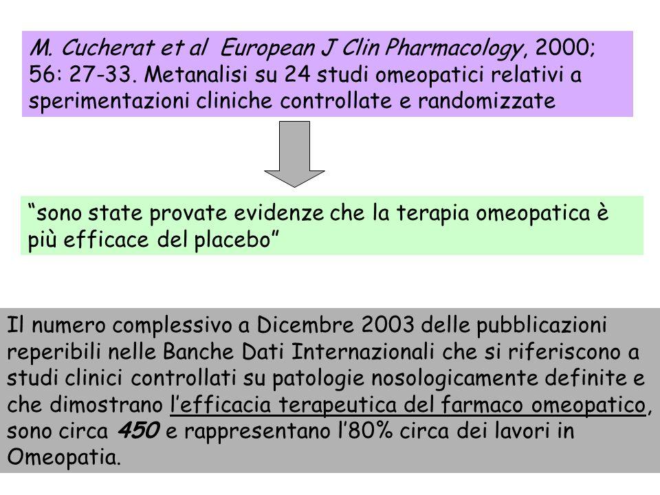 M. Cucherat et al European J Clin Pharmacology, 2000; 56: 27-33. Metanalisi su 24 studi omeopatici relativi a sperimentazioni cliniche controllate e r