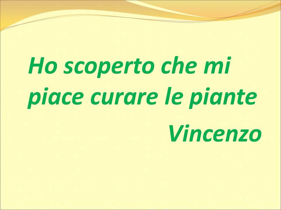 Ho scoperto che mi piace curare le piante Vincenzo