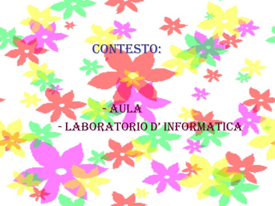 CONTESTO: - AULA - laboratorio D INFORMATICA