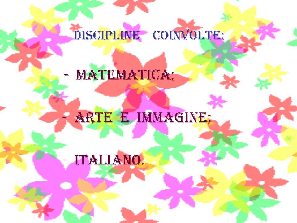 Discipline coinvolte: - Matematica; - arte e immagine; - italiano.