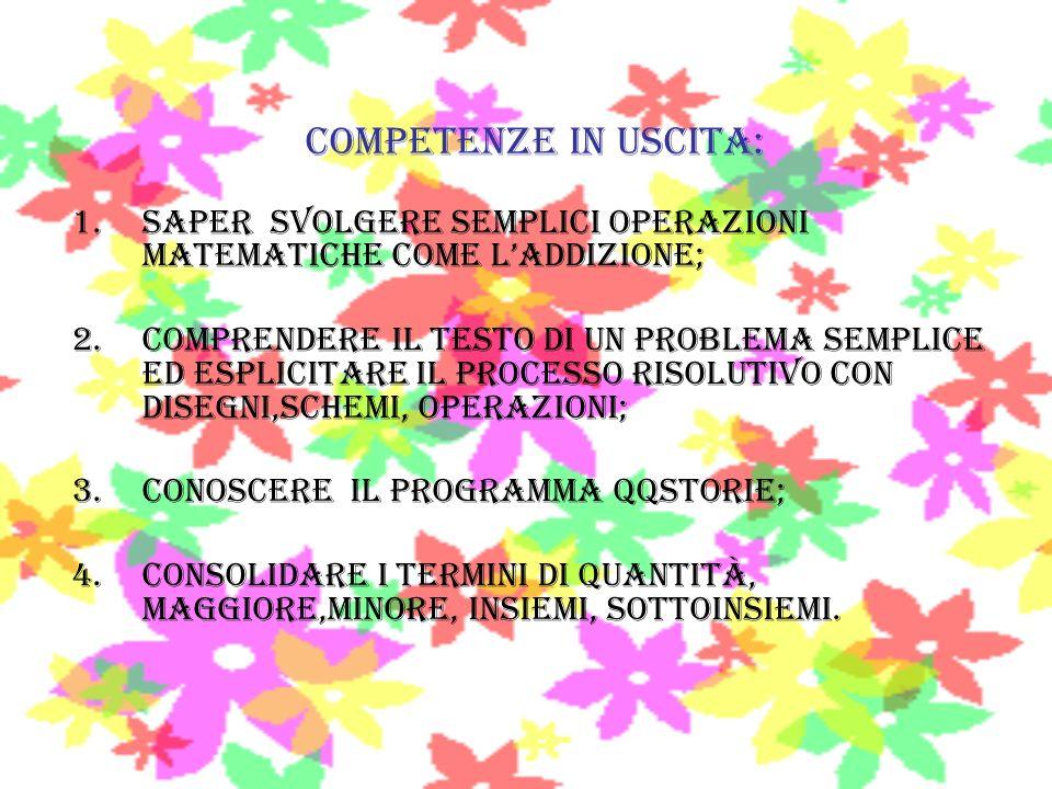 Competenze in uscita: 1.Saper svolgere semplici operazioni matematiche come laddizione; 2.COMPRENDERE IL TESTO DI UN PROBLEMA semplice ED ESPLICITARE