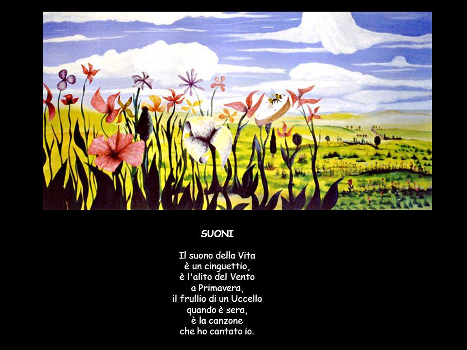 SUONI Il suono della Vita è un cinguettio, è l alito del Vento a Primavera, il frullio di un Uccello quando è sera, è la canzone che ho cantato io.