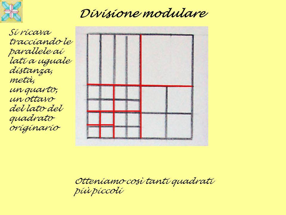 Otteniamo così tanti quadrati più piccoli Divisione modulare Si ricava tracciando le parallele ai lati a uguale distanza, metà, un quarto, un ottavo d
