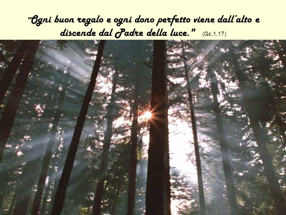 Ogni buon regalo e ogni dono perfetto viene dallalto e discende dal Padre della luce. (Gc.1,17)
