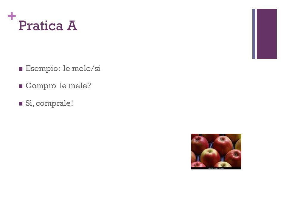 + Pratica A Esempio: le mele/si Compro le mele? Sì, comprale!
