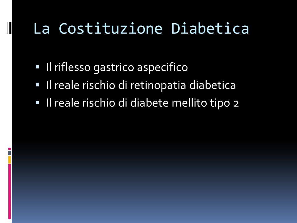 La Costituzione Diabetica Il riflesso gastrico aspecifico Il reale rischio di retinopatia diabetica Il reale rischio di diabete mellito tipo 2