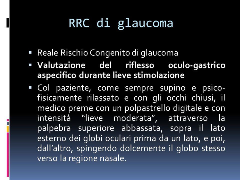 RRC di glaucoma Reale Rischio Congenito di glaucoma Valutazione del riflesso oculo-gastrico aspecifico durante lieve stimolazione Col paziente, come sempre supino e psico- fisicamente rilassato e con gli occhi chiusi, il medico preme con un polpastrello digitale e con intensità lieve moderata, attraverso la palpebra superiore abbassata, sopra il lato esterno dei globi oculari prima da un lato, e poi, dallaltro, spingendo dolcemente il globo stesso verso la regione nasale.