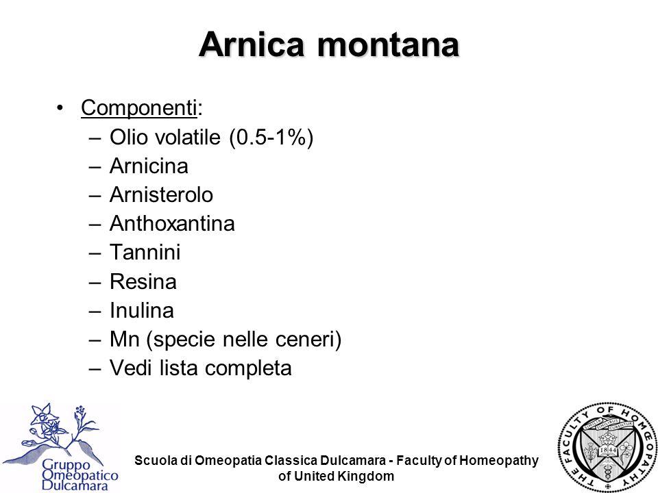 Scuola di Omeopatia Classica Dulcamara - Faculty of Homeopathy of United Kingdom Arnica montana Componenti: –Olio volatile (0.5-1%) –Arnicina –Arniste