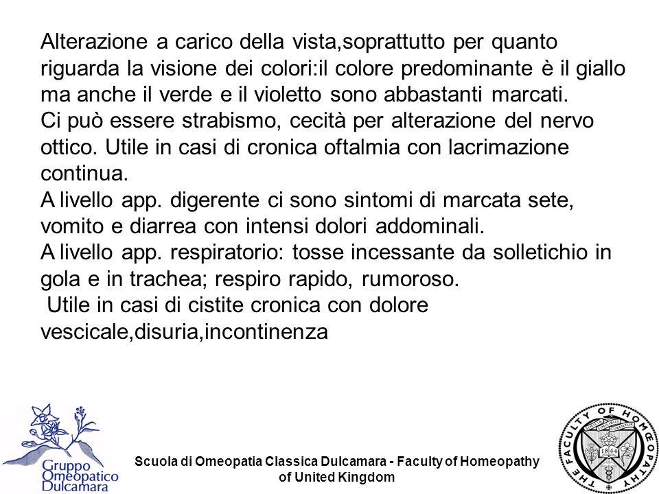 Scuola di Omeopatia Classica Dulcamara - Faculty of Homeopathy of United Kingdom Alterazione a carico della vista,soprattutto per quanto riguarda la v