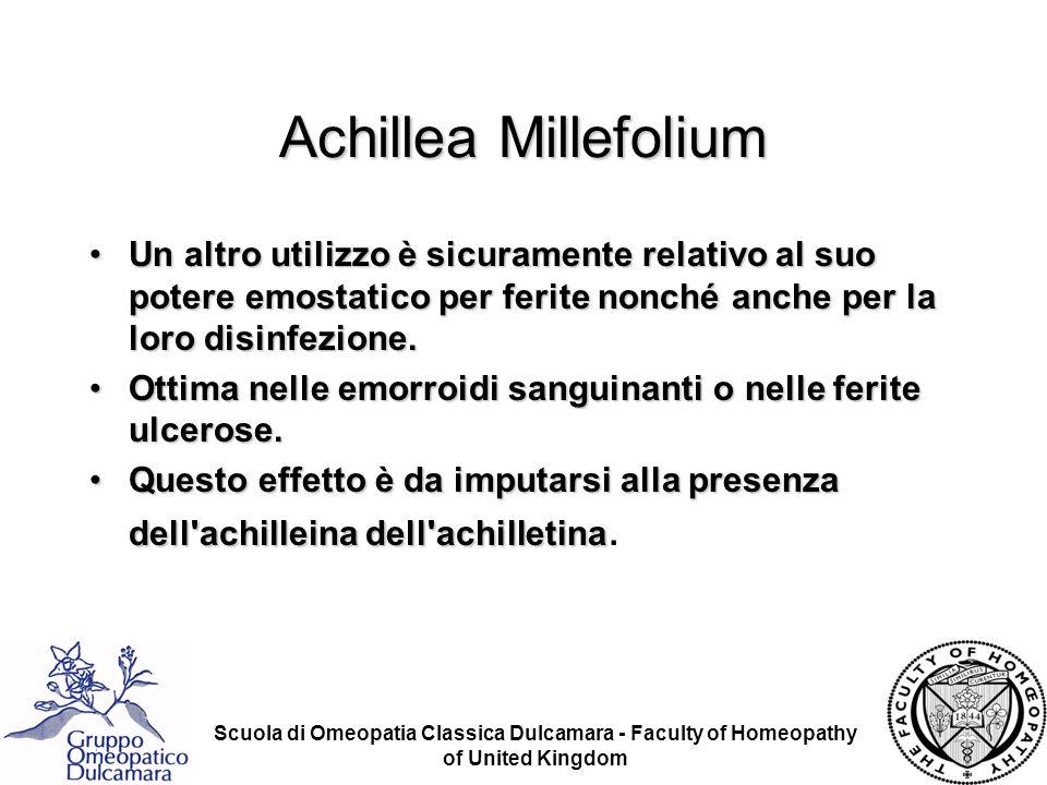 Scuola di Omeopatia Classica Dulcamara - Faculty of Homeopathy of United Kingdom Achillea Millefolium Un altro utilizzo è sicuramente relativo al suo