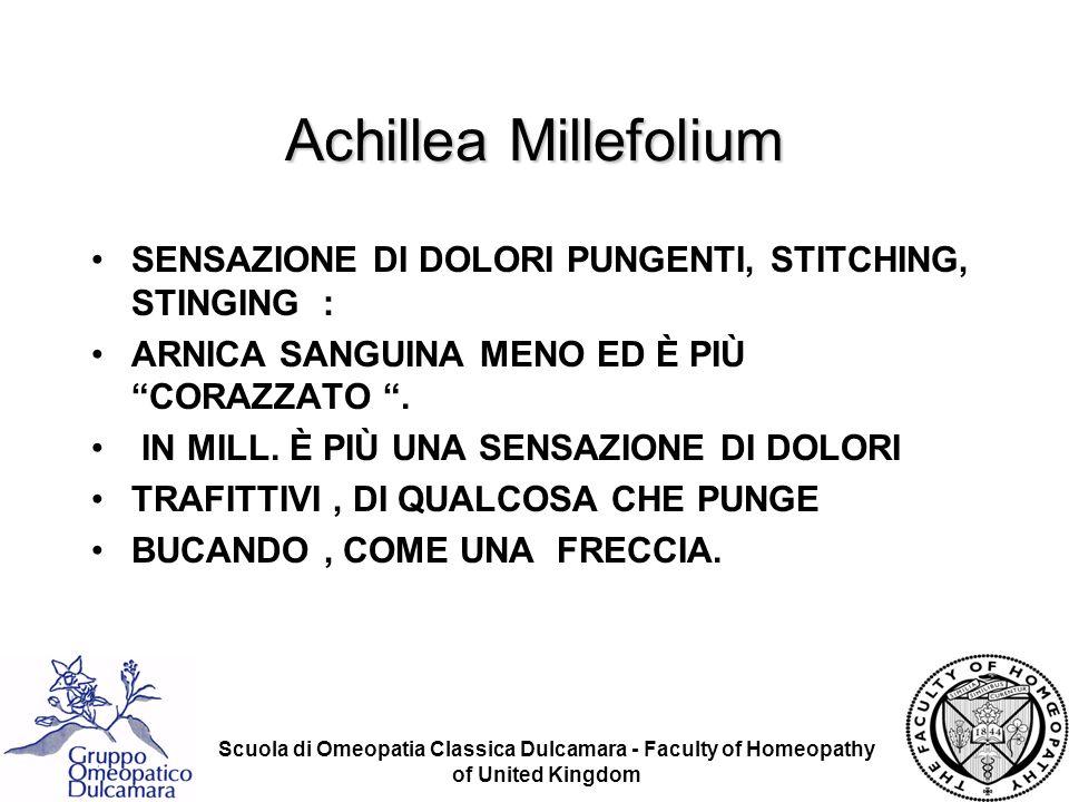 Scuola di Omeopatia Classica Dulcamara - Faculty of Homeopathy of United Kingdom Achillea Millefolium SENSAZIONE DI DOLORI PUNGENTI, STITCHING, STINGI