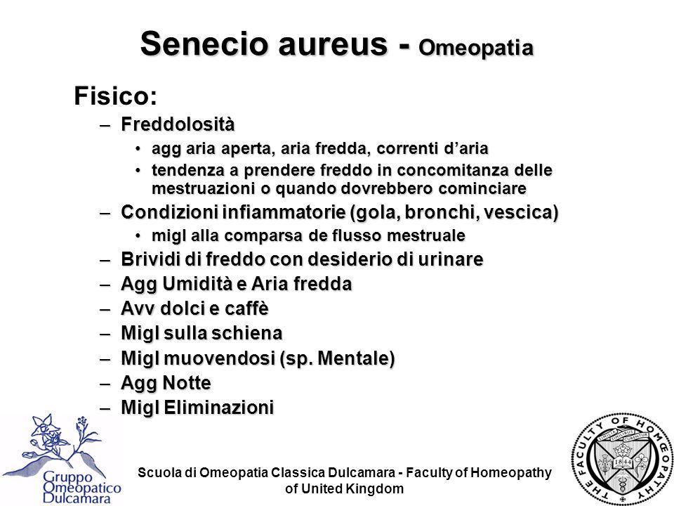 Scuola di Omeopatia Classica Dulcamara - Faculty of Homeopathy of United Kingdom Senecio aureus - Omeopatia Fisico: –Freddolosità agg aria aperta, ari