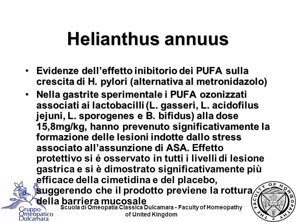 Scuola di Omeopatia Classica Dulcamara - Faculty of Homeopathy of United Kingdom Evidenze delleffetto inibitorio dei PUFA sulla crescita di H. pylori