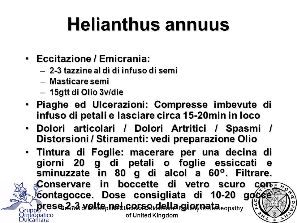 Scuola di Omeopatia Classica Dulcamara - Faculty of Homeopathy of United Kingdom Eccitazione / Emicrania:Eccitazione / Emicrania: –2-3 tazzine al dì d