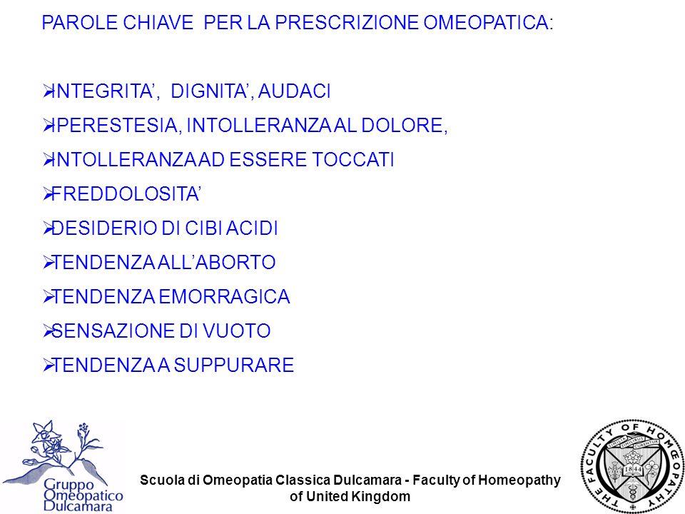 Scuola di Omeopatia Classica Dulcamara - Faculty of Homeopathy of United Kingdom MENTRE NELLE ALTRE COMPOSITE CÈ LA TENDENZA A NASCONDERE QUESTI SINTOMI, QUESTO NON AVVIENE IN CHAM.