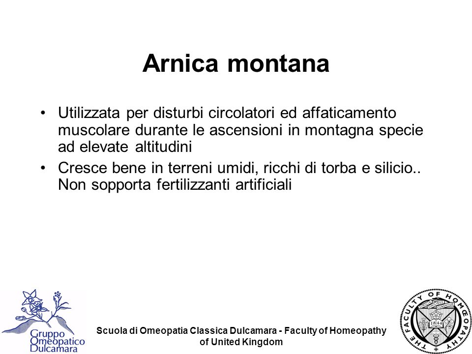 Scuola di Omeopatia Classica Dulcamara - Faculty of Homeopathy of United Kingdom Arnica montana Componenti: –Olio volatile (0.5-1%) –Arnicina –Arnisterolo –Anthoxantina –Tannini –Resina –Inulina –Mn (specie nelle ceneri) –Vedi lista completa