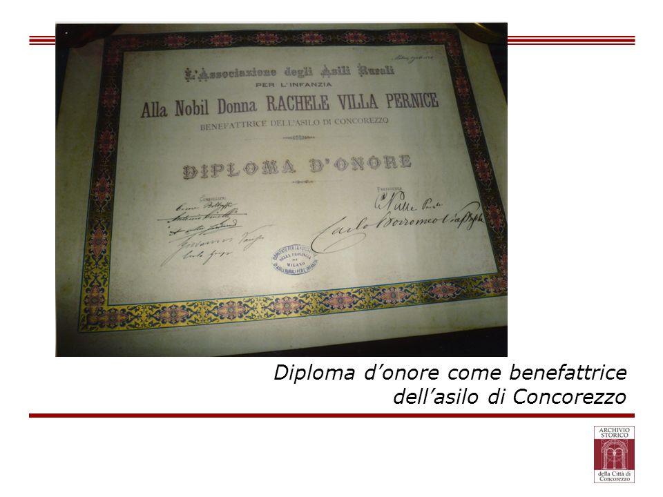 Diploma donore come benefattrice dellasilo di Concorezzo