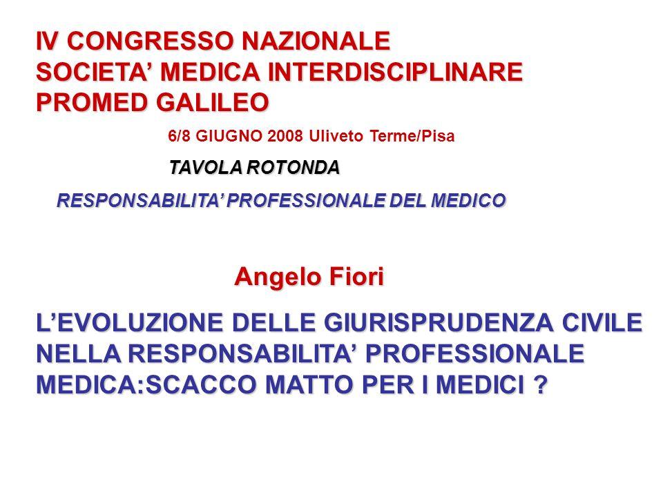 IV CONGRESSO NAZIONALE SOCIETA MEDICA INTERDISCIPLINARE PROMED GALILEO 6/8 GIUGNO 2008 Uliveto Terme/Pisa TAVOLA ROTONDA RESPONSABILITA PROFESSIONALE DEL MEDICO RESPONSABILITA PROFESSIONALE DEL MEDICO Angelo Fiori LEVOLUZIONE DELLE GIURISPRUDENZA CIVILE NELLA RESPONSABILITA PROFESSIONALE MEDICA:SCACCO MATTO PER I MEDICI ?